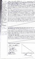 Officieel huwelijkscertificaat met de nietigverklaring in de linker kolom. Het onderste gedeelte bevat de handtekening van het huwelijk.