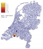 Verspreiding van 'Van Tichelt' in Nederland