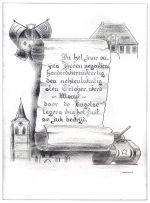 Tekening door P. Borghouts, gemaakt na de bevrijding van Wouw door de Engelse legers
